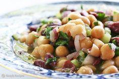 Three Bean Salad Recipe on SimplyRecipes.com. A potluck favorite! #vegan #glutenfree