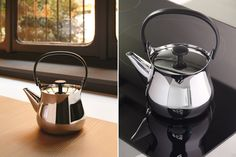 """Stainless Steel Stovetop Tea Brewer Pot from Stardust titled """"CHA"""" created in Italy brews the perfect cup of tea with loose tea leafs.  http://www.stardust.com/alessi-cha-teakettle.html"""