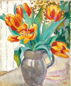 Louis Valtat 1869-1952 (French)   Vase of tulips oil on canvas 46 x 38 cm