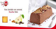 Découvrez Bûche aux Véritable Petit Beurre®, poires - chocolat - caramel - beurre salé