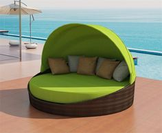 Calliope is an elegant Round outdoor wicker Daybed with adjustable Canopy designed by Viro Wicker USA & Have to have it. Coral Coast Moorea All-Weather Wicker Cabana Day ...