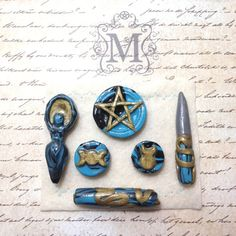 Perfect for the witch on the go, the unexpected situation, or those still in the broom closet who cannot set up a full size altar.  Handmade from polymer clay and glazed with a glossy sealant for a beautiful protective shine.