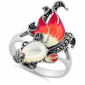 Sterling Silver Mother of Pearl Enamel Ghost Fish Marcasite Ring Sz Silver Charms, Silver Necklaces, Sterling Silver Bracelets, Silver Rings, 925 Silver, Jewelry Bracelets, Jewellery, Marcasite Jewelry, Diamond Jewelry