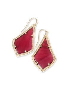 Add these classic Alex gold drop earrings with red, burgundy stones to your holiday look this winter season. Perfect for dressing up or down they're a must!