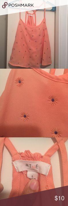 Orange & purple flower crop top worn once, in really good condition Tops Crop Tops