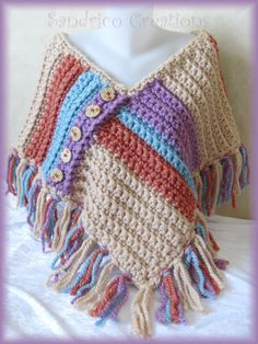 Punta tejida mano crochet botones de madera gruesa de poncho