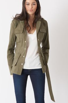 Military-inspired and versatile, this jacket will have you marching in style from work to weekend. Shoulder Sleeve, Military Jacket, Cute Outfits, Skinny, Tees, My Style, Long Sleeve, Sleeves, Model