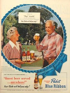 """Original Mr. and Mrs. General Henry """"Hap"""" Arnold Pabst Blue Ribbon Beer magazine ad available now on TavernTrove.com"""