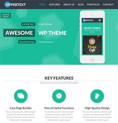 This flat WordPress theme has a drag and drop page builder, unlimited colors and sidebars, 14 widgets, a filterable portfolio, Revolution Slider integration, a responsive layout, and more.