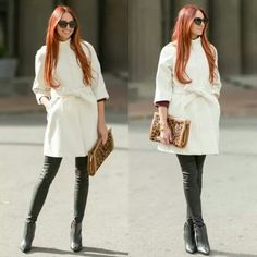 Little White Mid-sleeve Wool-blend Belted Coat