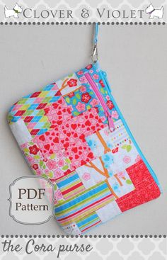 Clover & Violet — the Cora purse {Free Pattern featuring Lovebirds by RJR Fabrics}