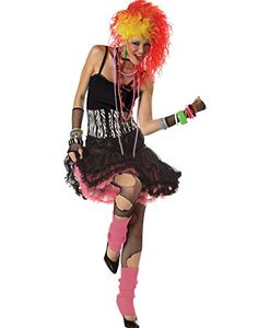 Adult 80s Party Girl Popstar Fancy Dress Costume - One Size Large/XL