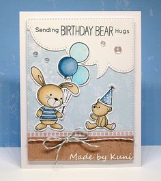 Hallo Ihr Lieben,     heute habe ich zur Abwechslung mal wieder ein Geburtstagskärtchen für euch.   Die süßen Bärchen und die Stanzen sind ...