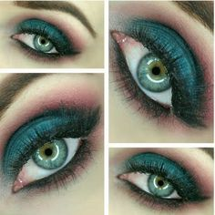 Deep teal green and warm purple eye shadows pave the way for this bewitching…