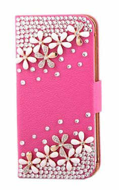 Pretty Shining Crystal Rhinestone Diamond Flowers Bling Back Cover For iPhone 5 Rose Wallet Style Phone Case