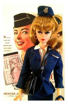 1961 Vintage Barbie American Airlines Stewardess Uniform #984 N/M COMPLETE, 1959 Original #1 Doll, 3 Vintage Posters