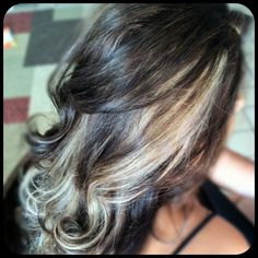 deep chocolate brown hair color with blonde peek a boo highlights