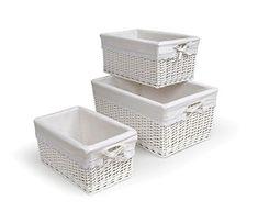 Badger Basket Three Basket Set, White