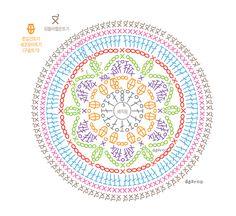 64 Ideas For Crochet Mandala Chart Patrones Motif Mandala Crochet, Crochet Doily Patterns, Crochet Diagram, Crochet Squares, Crochet Chart, Crochet Doilies, Crochet Flowers, Crochet Stitches, Crochet Wool