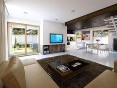 Living amenajat modern cu televizor pe perete