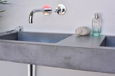 Concrete washbasin Gravelli Slant 07 Double in grey variant. Kinds Of Shapes, Concrete, Sink, Bathroom, Grey, Home Decor, Sink Tops, Washroom, Gray