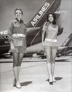 """""""Stewardesses""""  Showcasing the style of the 1970's this image shows Southwest Airlines uniform of the time"""