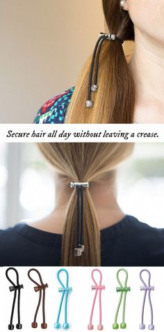 These sliding hair ties secure hair all day without leaving a crease.