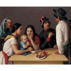 """Date: 2004-13 Source: www.arcadja.com Esta pintura fue pintado por Jose Agustin Arrieta. Es una familia mejicana, similar a la del Andres en el cuento """"La moneda de oro."""" En el cuento, Andres solo tiene su esposa y su nina, sin embargo, la familia de la casa tambien puede constituir de la aguela y otros miembros de la familia. La familia es una parte fundamental de la cultura mejicana."""