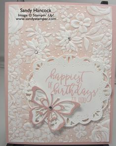 Here is a completely different way to add color to a card with the Country Floral Embossing Folder. It is quite simple. Use the Classic Stamp Pad to add ink all over the depressed side of the embossing folder. Handmade Birthday Cards, Happy Birthday Cards, Greeting Cards Handmade, Butterfly Cards, Flower Cards, Card Making Techniques, Embossing Techniques, Embossed Cards, Marianne Design