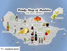 Drinks Map of Madeira . 15 Drinks you must try in Madeira Island . Tim Tam, Island Map, Island Food, Spain And Portugal, Portugal Travel, Muscat, George Washington, Madeira Food, Good Rum