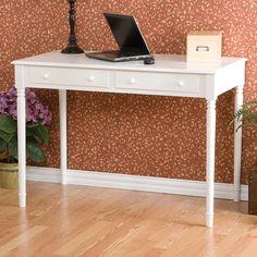 Wildon Home ® Hannelore 2 Drawer Writing Table in Crisp White & Reviews | Wayfair