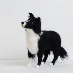 Custom pet portrait in 3D needle felt dog by SarahJaneColeby, £70.00. Sarah-Jane Coleby [United Kingdom] - https://www.etsy.com/shop/SarahJaneColeby #bordercollie #needlefelteddog