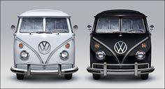 Black and White VW Campervans