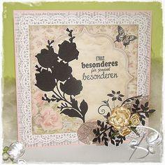 """Schattenkarte - Blumenarrangement   6011/0206 Joy!Crafts Motiv-Papierblock 6011/0701 Joy!Crafts Papierblock (12 x 12"""") 8099/0017 Joy!Crafts Leinenkarton (schwarz) 6300/0322 Joy!Crafts Band 6370/0053 Joy!Crafts Flowers 6370/0050 Joy!Crafts Flowers 6002/0369 Joy!Crafts Cutting & Embossing 6003/0026 Joy!Crafts Vintage Flourishes 6410/0066 Joy!Crafts Clearstamps 6410/0091 Joy!Crafts Clearstamps 6410/0023 Joy!Crafts Clearstamps StazOn Stempelkissen (schwarz)   Viele Bastelgrüße  Bille"""