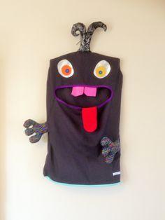 Monster Laundry/Toy Bag, Stunning Black, spots & multi-colour 2 Eyed Friendly Monster, I'm a Pet, Bag, teenager, girls, Christmas gift by ColourMeldDesigns on Etsy