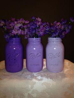 Purple mason jar vases