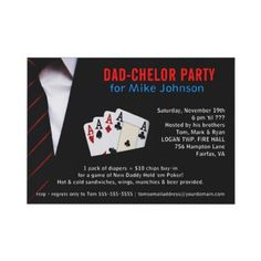 Diaper Party Card Idea. Poker. Dad-chelor Party.