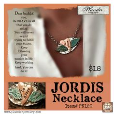 Be BRAVE The JORDIS Necklace by Plunder  #be #brave #inspire #message #plunder #jewelry #mixed #metals #copper #silver #patina #handstamped #stamped #design