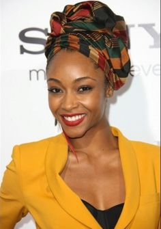Beautiful African print head wrap on Yaya