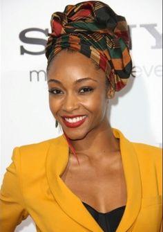 Beautiful African print head wrap on Yaya