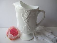 Large Vintage Colony Harvest Milk Glass Footed by mymilkglassshop
