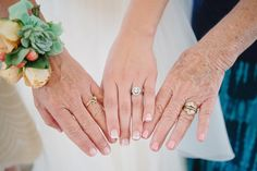 Tip: Include the hands — and rings — of your mom and grandmother to recognize the many generations of your family. Photo by Heather Hawkins Photographyy via Style Me Pretty