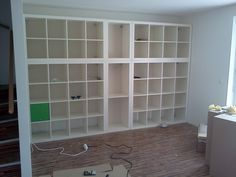Arbeitszimmer ikea shelf expedit regal schubladenkonstruktion Cleaning and Caring For Your Floor Int Wall Shelving Units, Ikea Shelves, Bookshelves Ikea, Expedit Bookcase, Shelf Wall, Ikea Deco, Ikea Regal Expedit, Ikea Hackers, Kallax