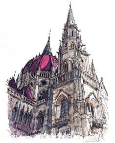 3,694 отметок «Нравится», 111 комментариев — watercolor@horiaki2 (@horiaki2) в Instagram: «ハンガリー・ブダペスト・国会議事堂 -- Hungarian Parliament Building , Budapest #水彩画 #透明水彩 #スケッチ #watercolor…»