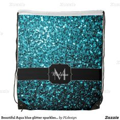 SOLD Beautiful Aqua blue glitter sparkles Monogram Cinch Bag (Drawstring Backpack) by #PLdesign #BlueSparkles #SparklesGift