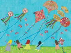 Fun canvas reproduction for play room.  Kites are a favorite!