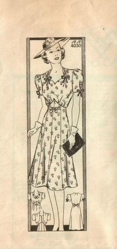0442009826 1930s Anne Adams 4030 Vintage Sewing Pattern Misses Afternoon 1940s Party
