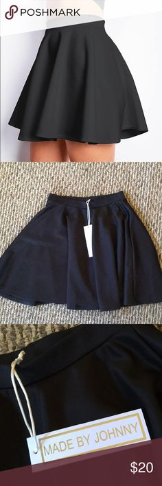 """Black Skater Skirt Versatile skater skirt Madebyjohnny  Brand new never been worn Original tags  Made in USA Super comfy no wrinkle fabric!!!!  95%rayon  5% spandex 15"""" length  Perfect for any occasion! School, office, dates, parties! Made by Johnny Skirts Mini"""