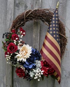Independence Day wreath - hydrangea, mums, tea-stained flag.