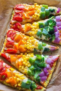 Low-carb Cauliflower crust rainbow pizza is packed with veggies inside and out, and is perfect for kids and adults. Rainbows are happening in the kitchen today! Rainbow Pizza, Rainbow Food, Rainbow Treats, Rainbow Things, Rainbow Stuff, Kids Rainbow, Rainbow Parties, Vegetarian Recipes, Cooking Recipes